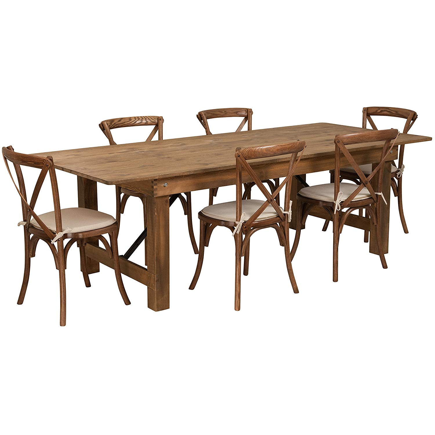 B Rustic Farm Table Set With 6 Cross Back Chairs And Burlap Cushions   Rustic  Farm